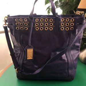 Badgley Mischka Bluish Purple Large Leather Bag